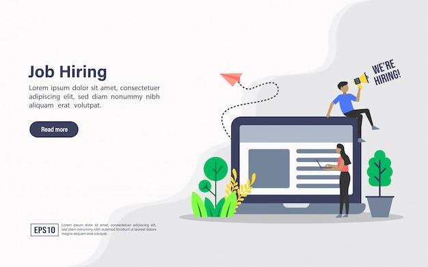 Landing page web template of job hiring Premium Vector
