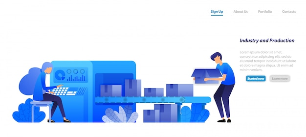 Landing page web template. machine industry 4.0 and factory production, conveyor belts  engine send boxes are operated by a woman. Premium Vector