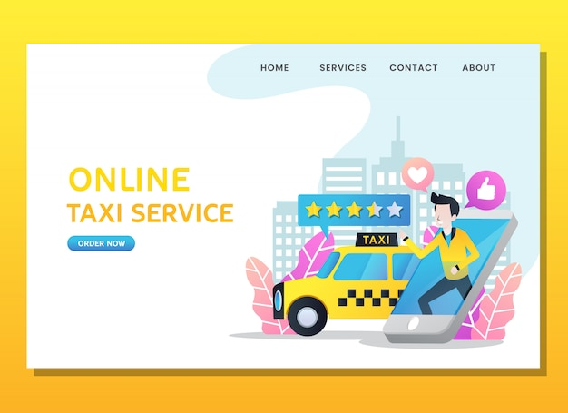 Landing page or web template. man order online taxi Premium Vector
