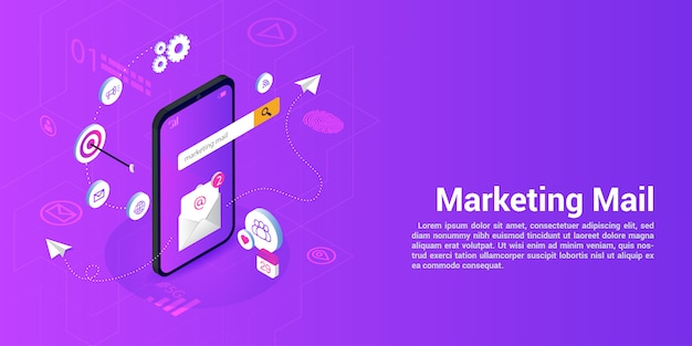 Landing page web template for marketing mail or mailing agencies Premium Vector