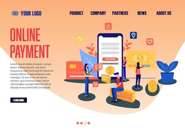 Landing page web template online payment Premium Vector
