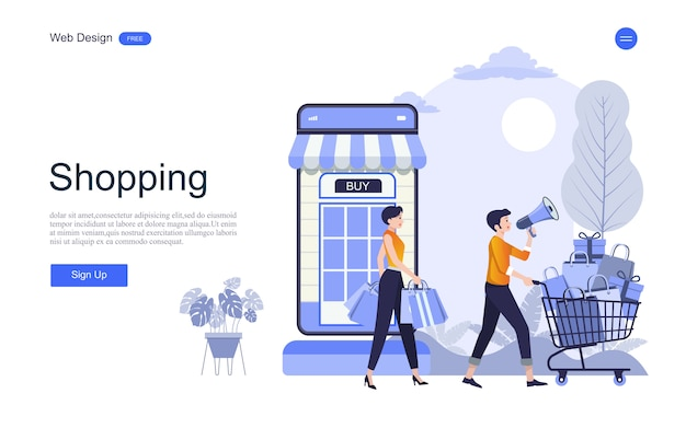 Landing page web template for online shopping and services Premium Vector