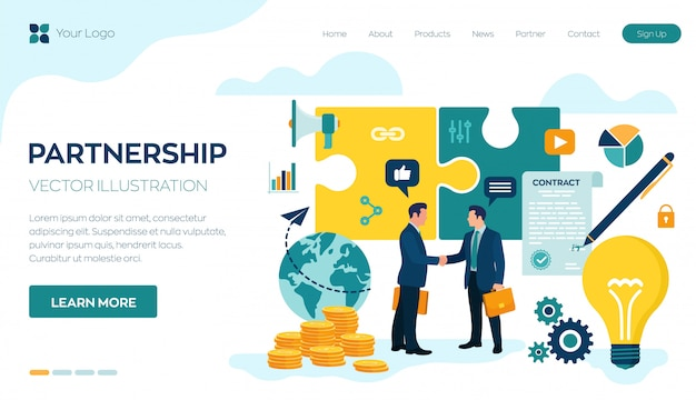 Landing Page Or Web Template For Partnership Concept