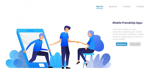 Landing page web template. people get out of mobile and invite to meet. friendship, introduction and matchmaking application. Premium Vector