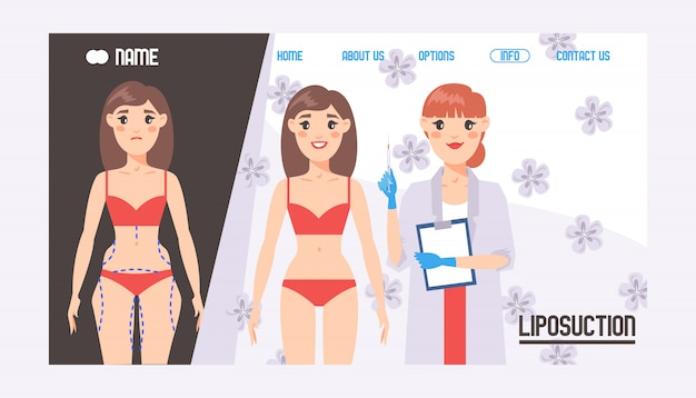 Landing page or web template for plastic surgery concept. face and body correction. surgeon doctor c