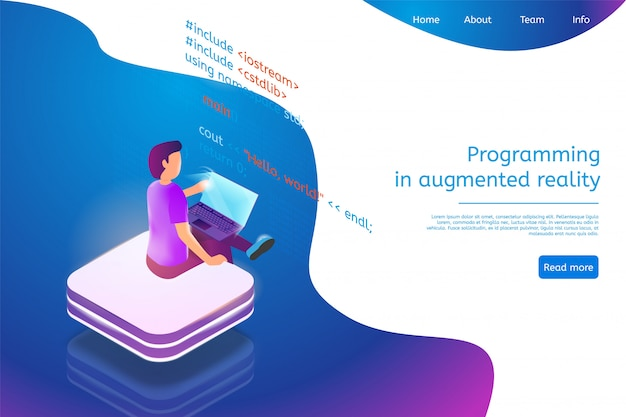 Landing page web template for programming in augmented reality Premium Vector