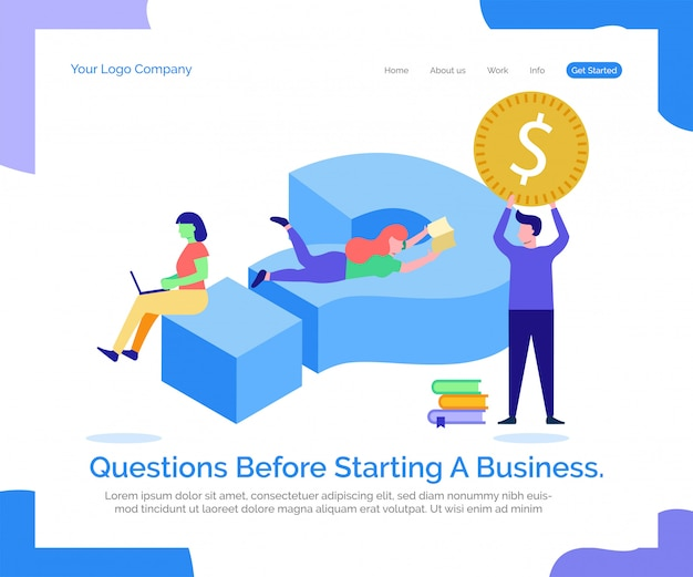 Landing page web template. questions before starting a business. Premium Vector
