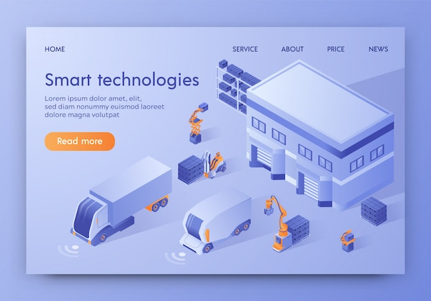 Landing page web template. self driving automatic guided vehicle, logistics Premium Vector