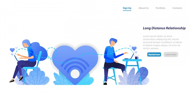 Landing page web template  send chat big love messages from long