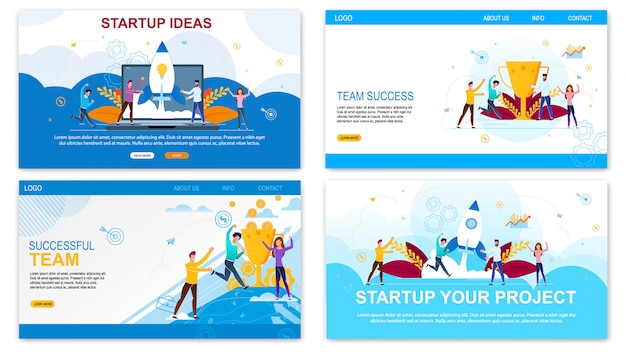 Landing page web template for startup ideas, successful time set Premium Vector