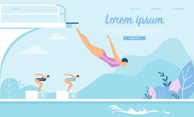 Landing page web template for swimming competition with young sportswomen jumping into water Premium Vector