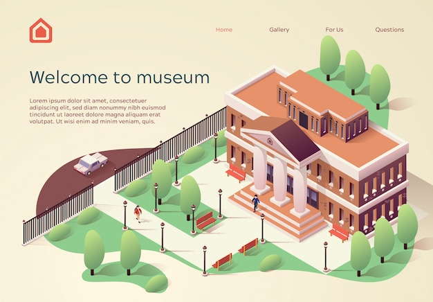 Landing page web template welcome to museum Premium Vector