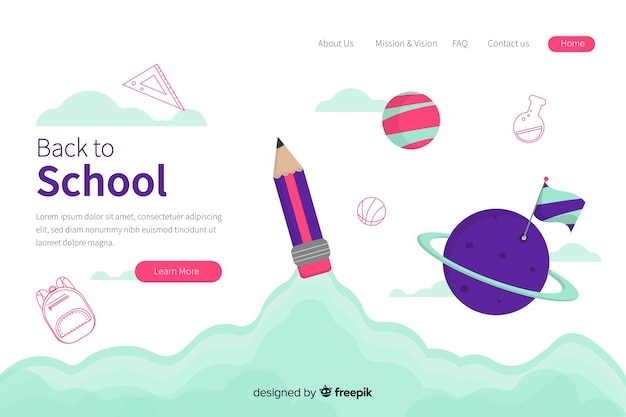 Landing page web template with back to school theme Free Vector