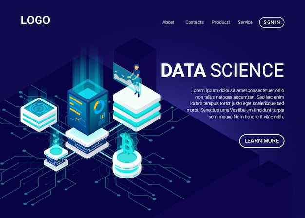 Landing page or web template with data science concept Premium Vector