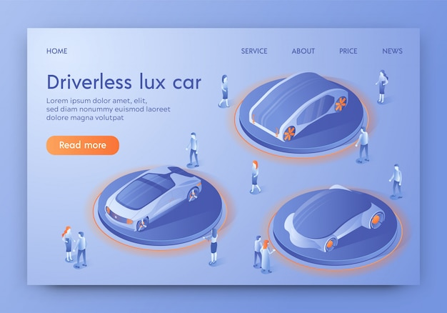 Landing page web template with driverless lux car, show room exhibition Premium Vector