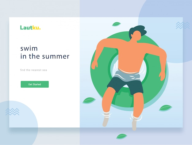 Landing page web template. young man floating on an inflatable circle in a swimming pool Premium Vector