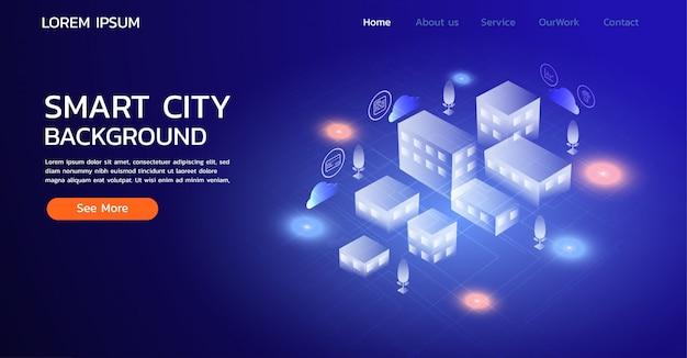 Landing page website. smart city concept Premium Vector