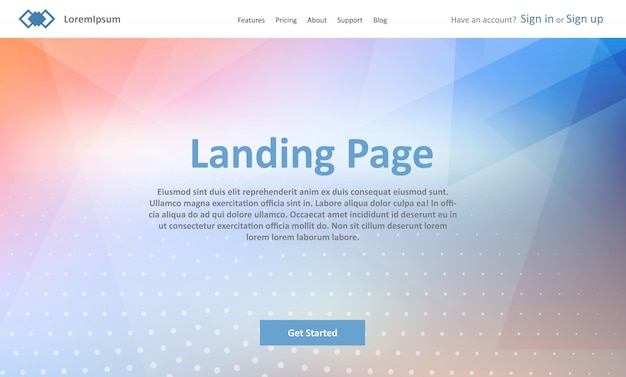 Landing page website template with abstract low poly design Vector ...