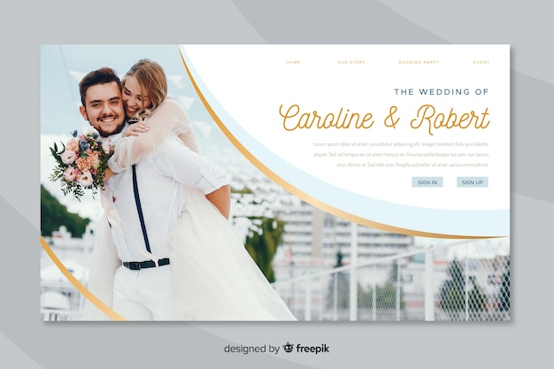 Landing page wedding with photo Free Vector