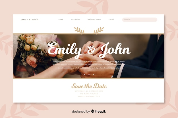 Landing page wedding with picture Free Vector