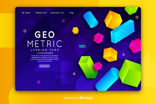 Landing page with 3d geometric items Free Vector