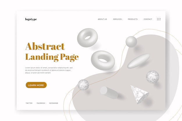 Landing page with 3d geometric shapes Free Vector