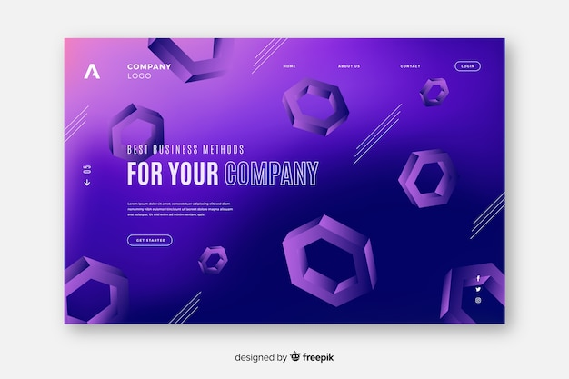 Landing page with 3d hexagons Free Vector