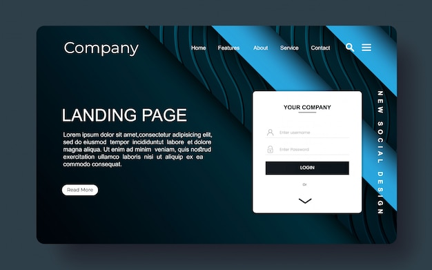 Landing page with abstract background Premium Vector