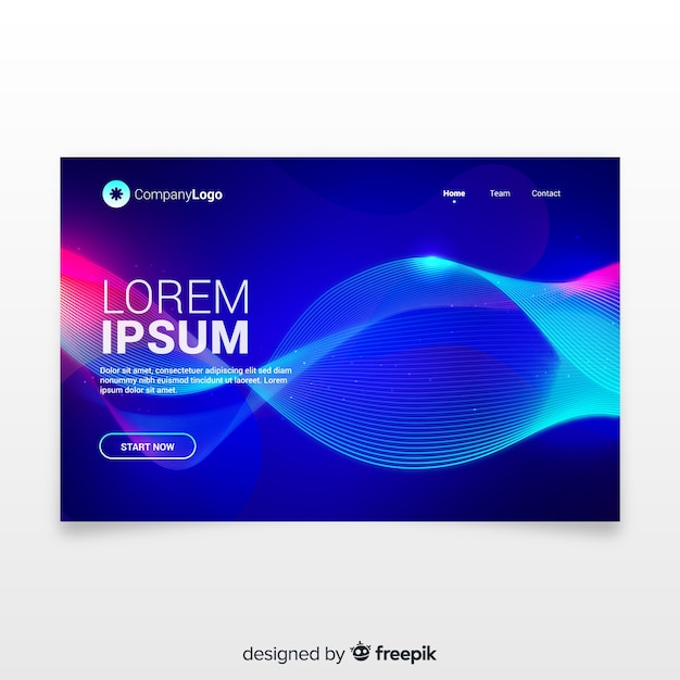 Landing page with abstract lineal shapes Free Vector