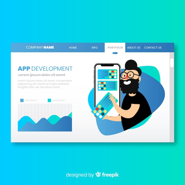 Landing page with app development concept Free Vector