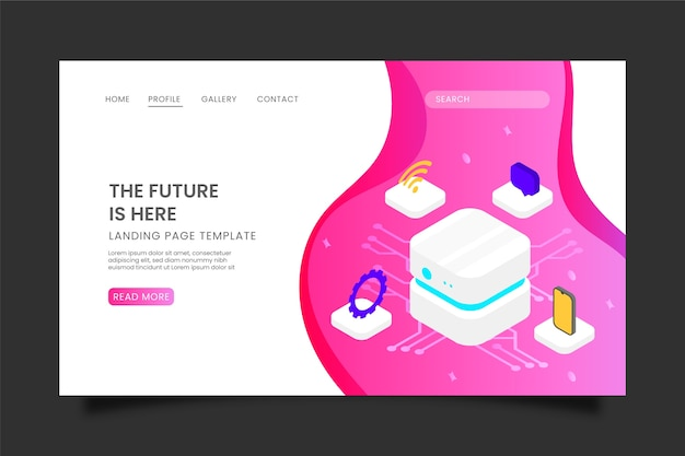 Landing page with artificial intelligence Free Vector