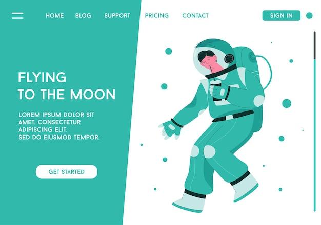 宇宙飛行士のランディングページ、flying to themoonのコンセプト Premiumベクター