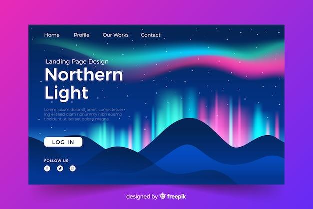 Pagina di destinazione con brillanti luci del nord Vettore gratuito