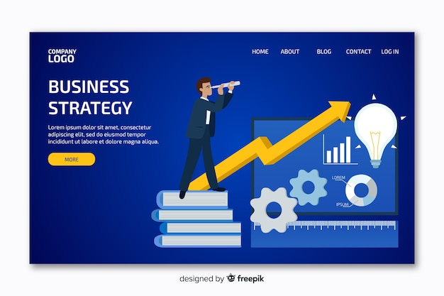 Landing page with business graph Free Vector