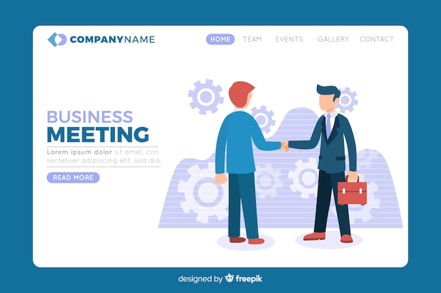 Landing page with business strategy Free Vector