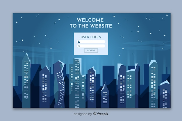 Landing page with city skyline form Free Vector