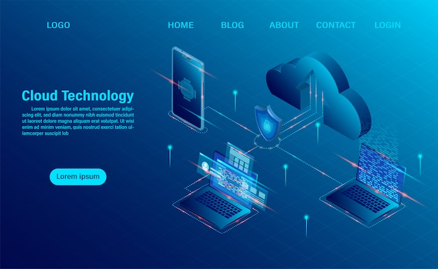 Landing page with cloud computing concept. online computing technology. big data flow processing concept, 3d servers and datacenter. isometric flat design. Premium Vector