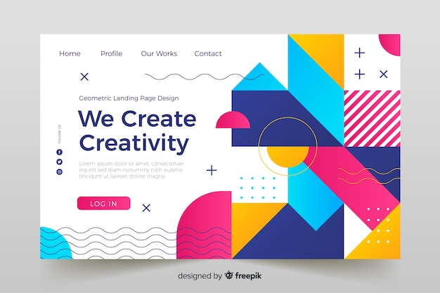 Landing page with colorful geometric aspects Free Vector