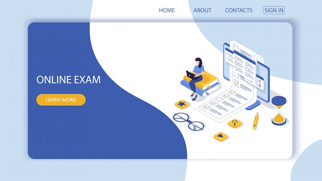 Landing page with concept of online exam, online testing. Premium Vector