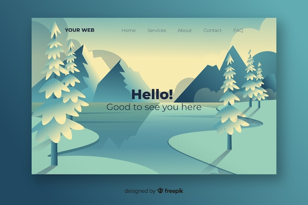 Landing page with cool gradient landscape Free Vector