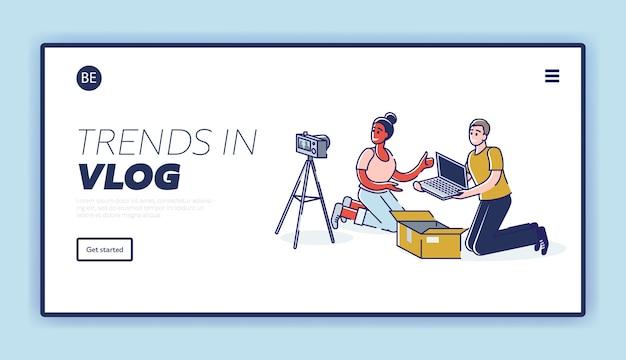 Целевая страница с парой блоггеров, снимающих видео с распаковкой и обзором нового портативного компьютера Premium векторы