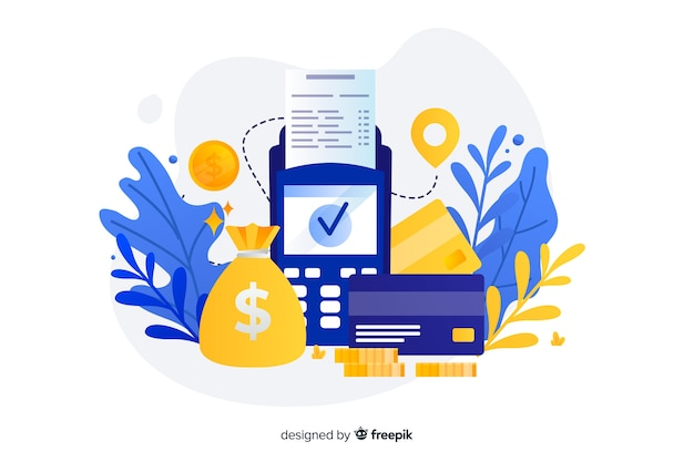 Landing page with credit card payment concept Premium Vector