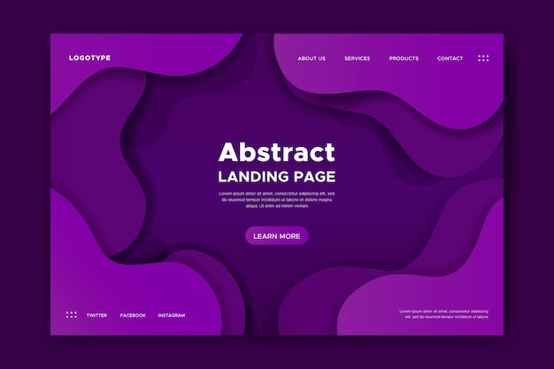 Landing page with dynamic shapes Free Vector