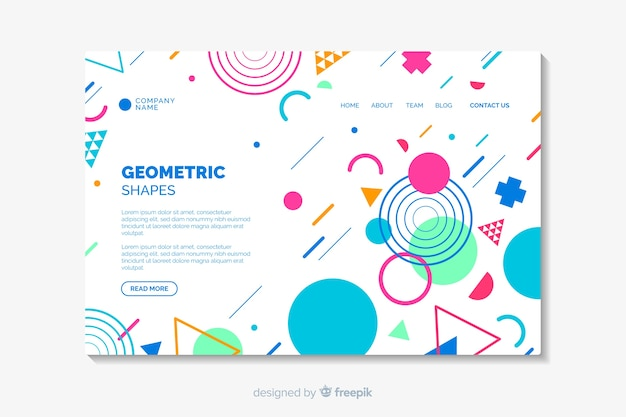 Landing page with geometric shapes Free Vector