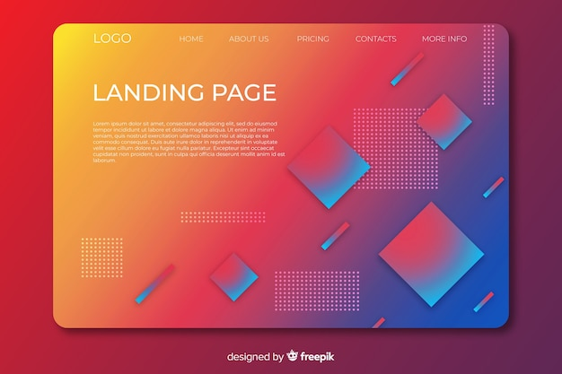 Landing page with gradient geometric shapes Free Vector