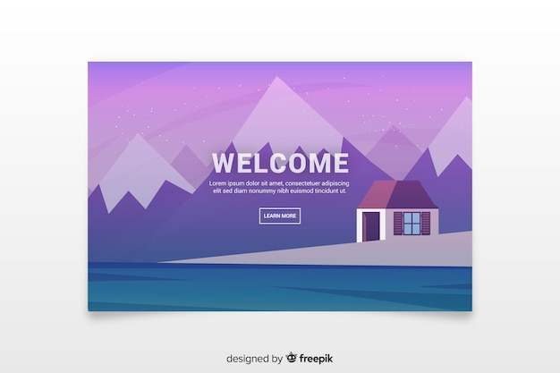 Landing page with gradient landscape Free Vector
