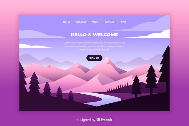 Landing page with gradient mountains Free Vector