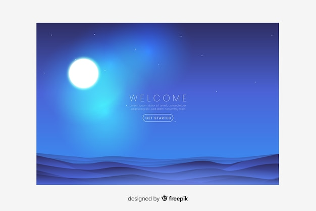Landing page with gradient ocean and moon Free Vector