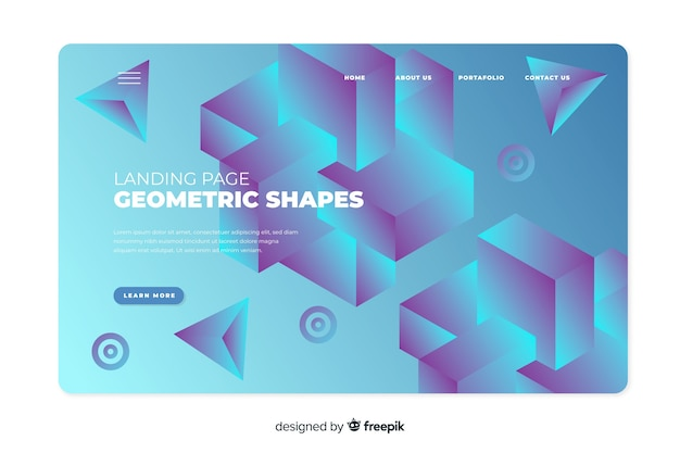 Landing page with gradient shapes Free Vector