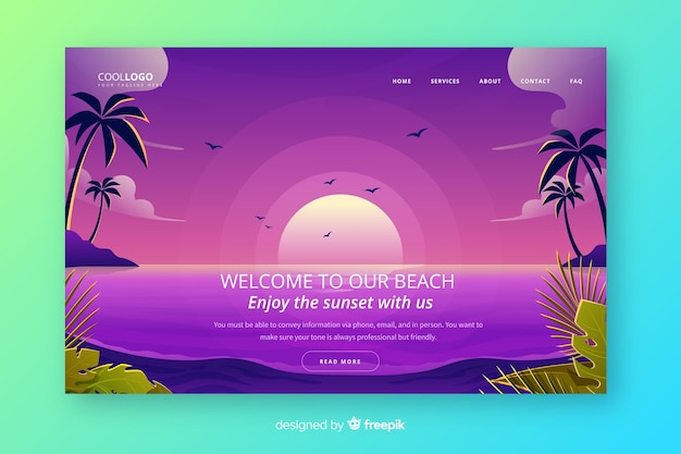 Landing page with gradient sunset Free Vector